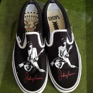Johnny Ramone Vans Slip On Size M 10.5/ W 12